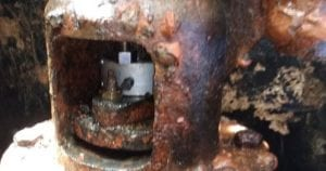 Corroded and leaking sluice valves.
