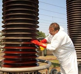 High voltage insulators during cleaning