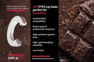 PTFE lip seals are perfect for chocolate production process.